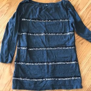 Loft Outlet 3/4 sleeve tee with sequins